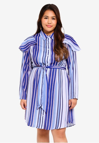 LOST INK PLUS blue Plus Size Stripe Shirt Dress With Frills F8CCCAA8599F4EGS_1