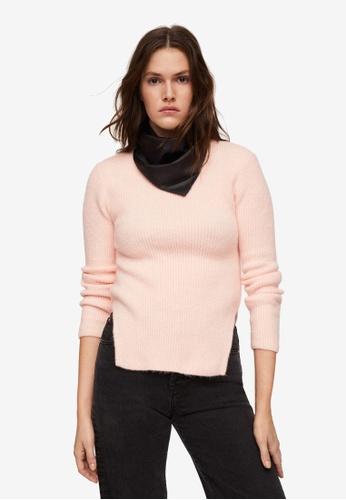 Mango pink Ribbed Knit Sweater 5856AAA5F31488GS_1