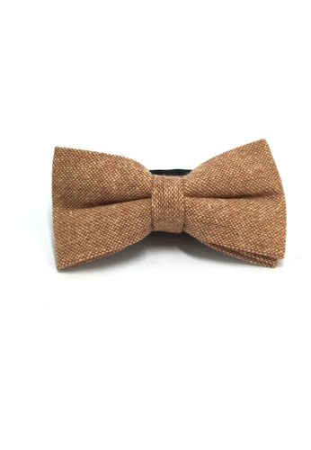 Splice Cufflinks Dolly Series Apricot Brown Wool Pre-tied Bow Tie SP744AC28QOPSG_1