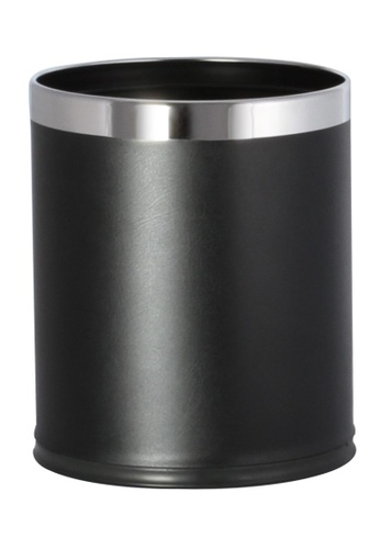 JVD JVD Lifestyle Round Double Layer 10 Litres Bin With PU Leatherette Black B83F2HL4422C4FGS_1