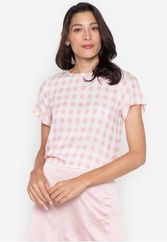 Seventh Cherie pink Short Sleeve Top W/ Back Buttondown & Tie On Side Hem 33B0DAA26E2A27GS_1