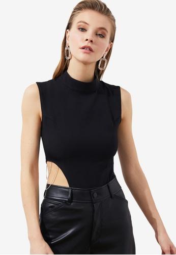 Trendyol black High Neck Cut Out Bodysuit 03B03AAB798001GS_1