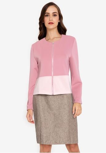 ZALORA WORK pink Colourblock Jacket 7F3D4AA51AE941GS_1