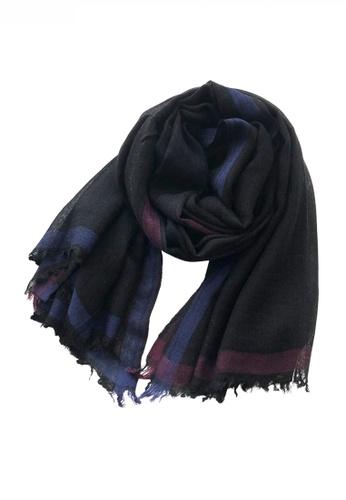 HAPPY FRIDAYS black Artificial Wool Mix Color Stripe Pattern Thin Scarf JW JS-1111 B7380ACCA782F0GS_1
