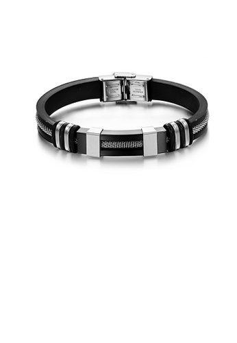 Glamorousky silver Simple and Fashion Plated Black Geometric 316L Stainless Steel Silicone Bracelet A8792AC5E5CD80GS_1