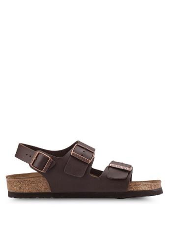 Birkenstock brown Milano Birko-Flor Sandals BI090SH64HNFMY_1