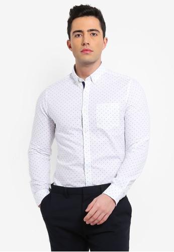 Burton Menswear London white Long Sleeve White Diamond Printed Oxford Shirt CAD92AA0567575GS_1