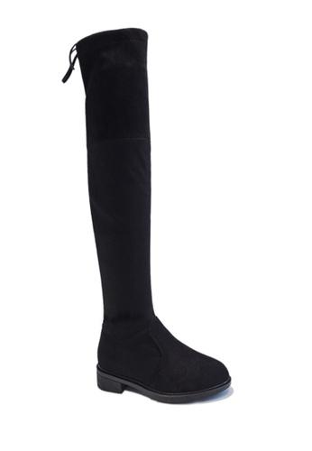 Twenty Eight Shoes black VANSA Low Heel Over Knee Boot VSW-B888 28135SHCC4E822GS_1