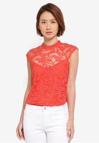 Dorothy Perkins pink Coral Lace Sleeveless Top 5E5B5AAF33B688GS_1