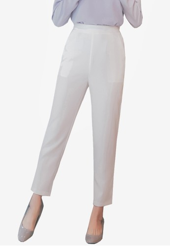 Yoco white High Waist Tapered Pants 86B95AA663BC18GS_1