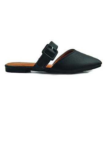 SHINE black Comfy Flat Mules  CAC43SH0D4D8B7GS_1