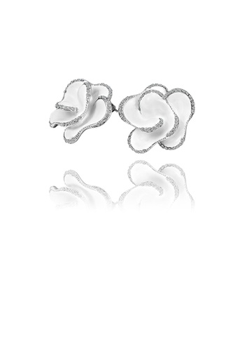 Glamorousky white Fashion and Elegant White Flower Stud Earrings with Cubic Zircon D0EEFAC4F5D395GS_1