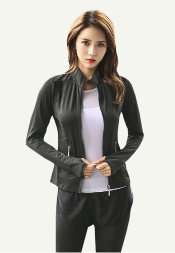 B-Code black ZYG5080-Lady Quick Drying Running Fitness Yoga Tank Top, Jacket and Leggings Three Pieces Set-Black 8D146AA4D0E464GS_1