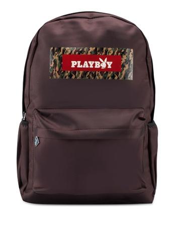 Playboy brown Printed Backpack 47040ACA9B1011GS_1