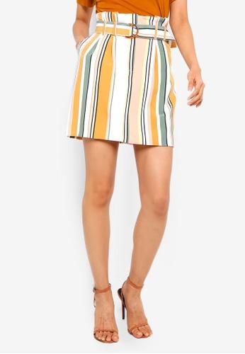 Buy Miss Selfridge Multi Coloured Stripe Paperbag Skirt Zalora Hk