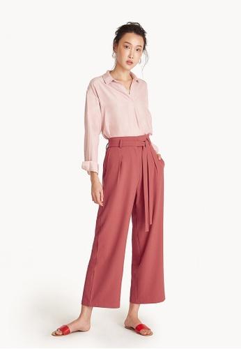 Pomelo orange Tie Waist Pants - Coral Pink 80D36AA2C1925EGS_1