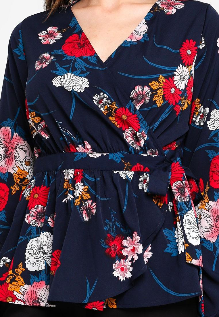 Navy Nbla Wrap Top Flowers Blazer Bisla Pieces 6BxgSqFqw