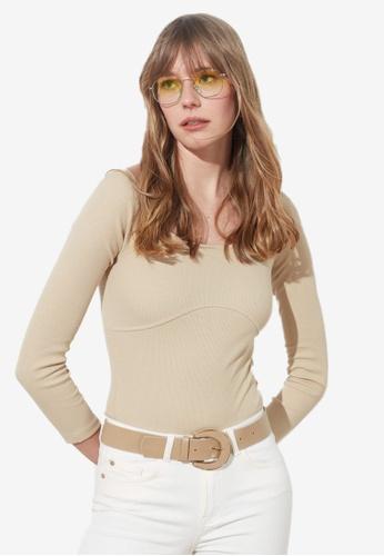 Trendyol beige Basic Off Shoulder Long Sleeve Bodysuit 24FF2AA72273D8GS_1