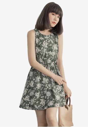 Eyescream green Printed Floral Dress F768CAAA0AEC10GS_1