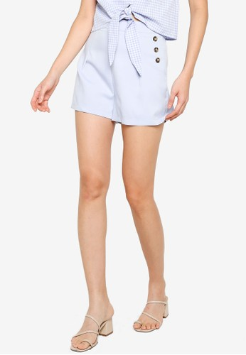 ZALORA BASICS blue Side Buttons Detail Shorts 2F1CCAA80ACB92GS_1