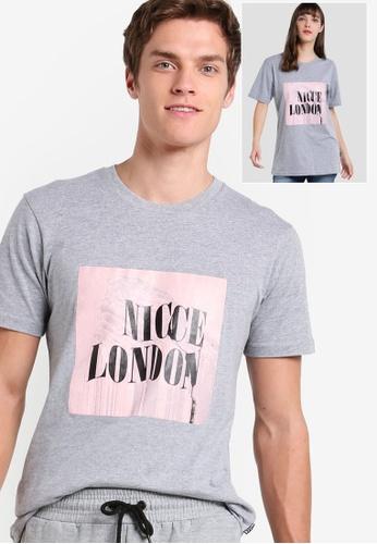 Nicce London grey Glitch T-Shirt NI146AA29THAMY_1