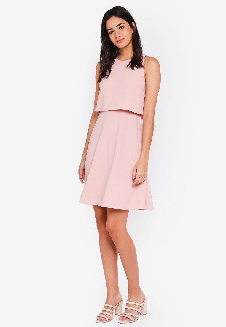 Double Dress Layer Blush Bridesmaid Mini ZALORA TZHxqw