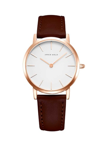 Aries Gold brown Aries Gold Urban Santos L 1023 Rose Gold and Brown Watch 293CBAC8E36900GS_1