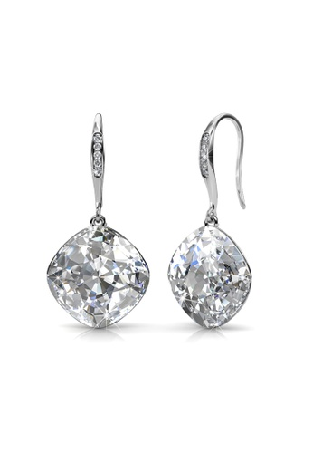 Her Jewellery silver Swarovski® Crystals - Tiffy Hook Earrings (White Gold) (18K White Gold Plated) Her Jewellery HE581AC0R9WYMY_1