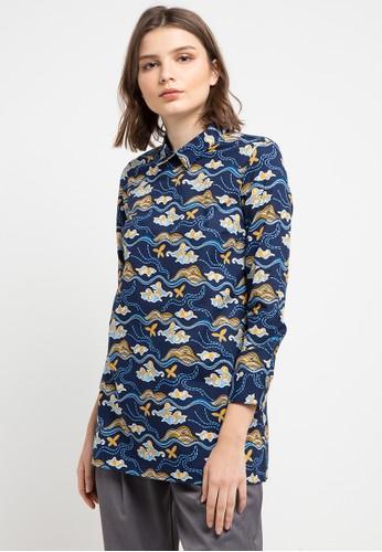 Batik Solo multi and navy Long Sleeve Cotton Print Blouse 952C2AAE398A12GS_1