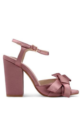 Velvet pink Big Bow Ankle Strapped Heels 260B7SHA594EC0GS_1