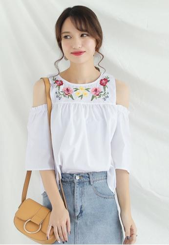 Shopsfashion white Embroidered Split Shoulder Blouse SH656AA0G01KSG_1