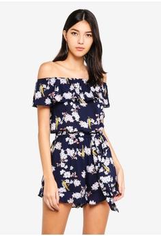 44bbb83d5d Kitschen blue Floral Ruffle Off Shoulder Jumpsuit 58944AA3EDDDD4GS 1