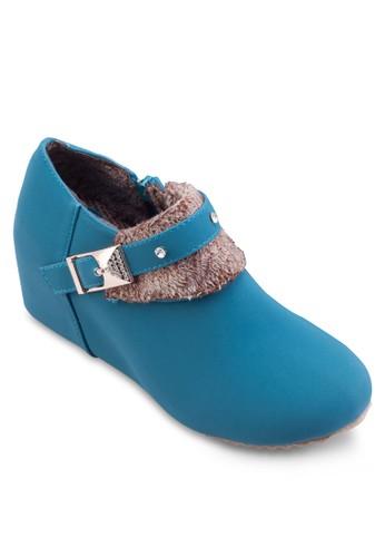 閃飾毛呢內增高踝靴, 女esprit hk鞋, 楔形鞋
