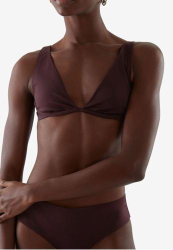 COS purple Recycled Polyamide Plunge Bikini Top BEAD7US5E1DFDFGS_1
