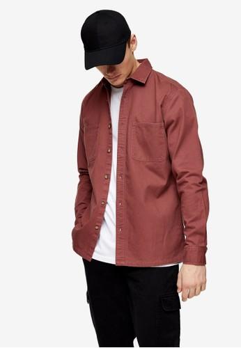 Topman red Burgundy Two Pockets Twill Slim Shirt 1423EAAC9F982FGS_1
