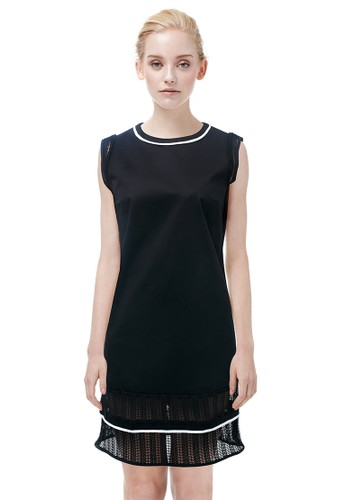 圓領鏤空網子拼接洋裝, 服飾, 及zalora開箱膝洋裝