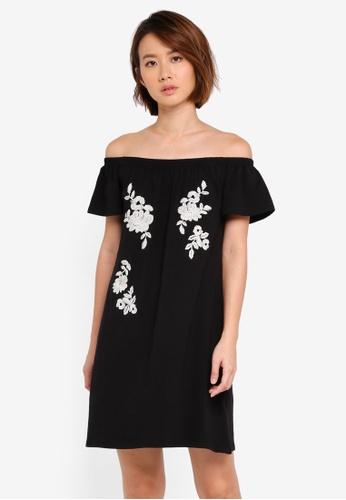 Dorothy Perkins black Black Embroidered Bardot Dress 4B57BAA2A1F07FGS_1