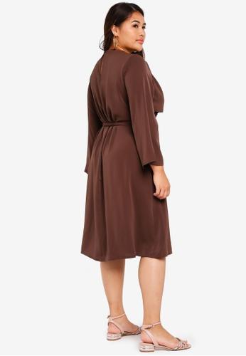 0eaf1694d4eb4 Buy ELVI Plus Size Chasse Bodice Wrap Detail Dress Online on ZALORA  Singapore