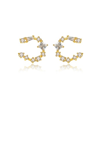 Glamorousky white 925 Sterling Silver Plated Gold Simple Fashion Geometric Semicircle Cubic Zirconia Stud Earrings 6B606AC354EAC3GS_1