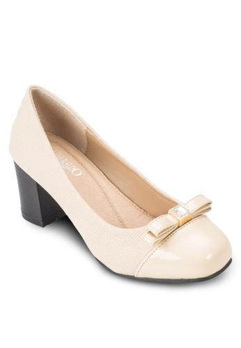 蝴蝶結esprit 京站異材質高跟鞋, 女鞋, 厚底高跟鞋