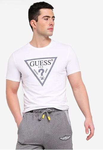 96948a1c11e58 Guess white Classic Guess Triangle Logo Denim Trim T-Shirt  23888AAA7A5246GS_1