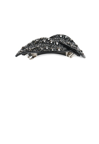 Glamorousky black Fashion Bright Black Leaf Hair Slide with Cubic Zirconia D837CAC48179E0GS_1