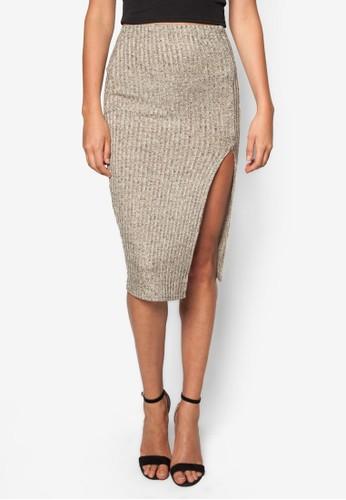羅紋開衩及膝zalora 心得裙, 服飾, 服飾