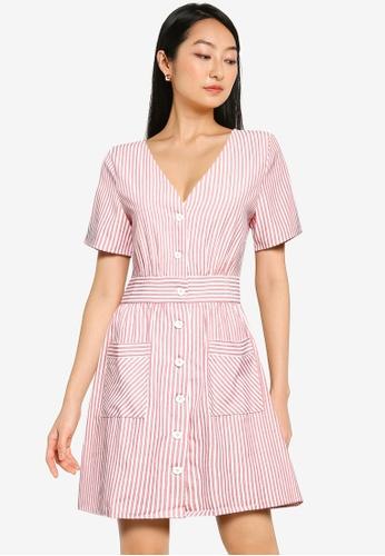 ZALORA BASICS multi Button Down Striped Dress EBE9FAA1ABFA71GS_1
