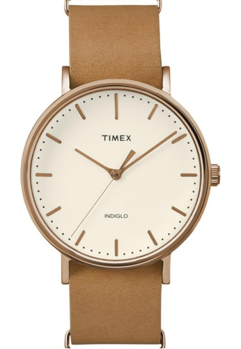 TIMEX brown Timex Weekender™ Fairfield - Rose Gold-Tone Case and Leather Strap TI857AC36NSHSG_1
