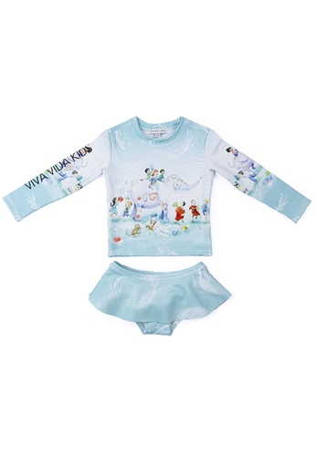 Viva Vida Kids blue Swimwear 2Pcs LS Songkran E652EKAFA4B7E7GS_1