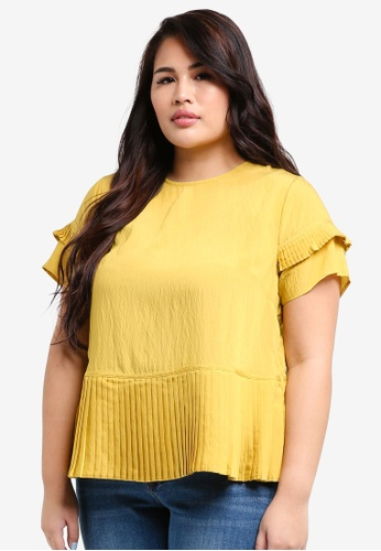LOST INK PLUS yellow Plus Size Top With Pleated Panel 031A7AAC074E7EGS_1