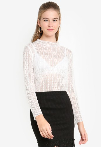 Eyescream white Sheer Lace Layering Top 2566DAA3C54620GS_1