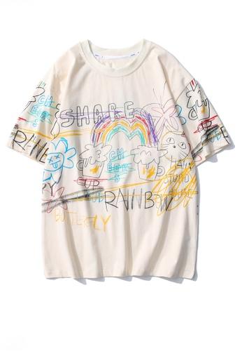 Twenty Eight Shoes beige VANSA Painted Graffiti Short Sleeve Tee Shirt VCU-T86609 D6066AA7358FF6GS_1