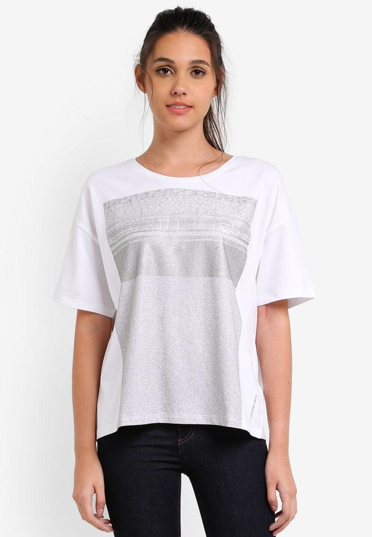 Top Klein Short Sleeve White Crew Neck Jeans Bright Calvin Calvin Klein Tecara wISX88YH